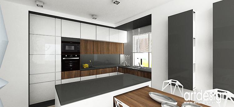 Projekt wnętrz apartamentu Kraków  Projektowanie wnętrz ARTDESIGN -> Kuchnia I Salon Aranżacje
