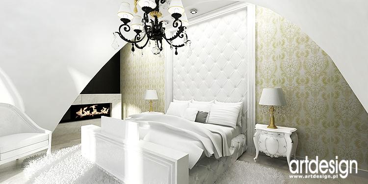 aranżacja wnętrza sypialni z kominkiem
