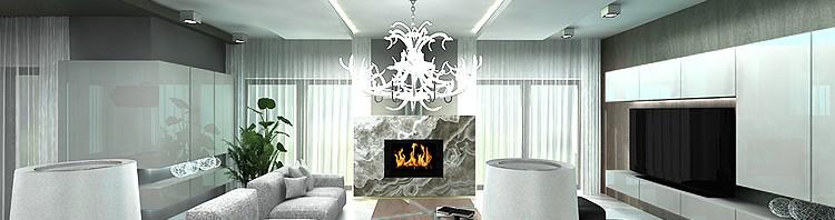 nowoczesne wnętrze salonu z kominkiem