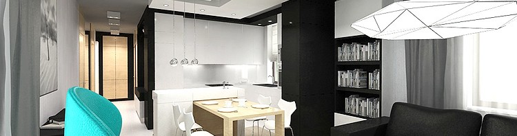 lusksuowe wnętrza apartamentu - salon z kuchnią