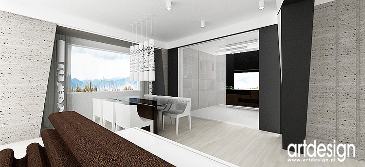 projekt wnętrza nowoczesnego domu - salon z jadalnią