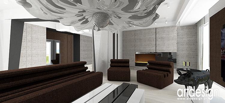 salon z kominkiem - projekt wnętrza