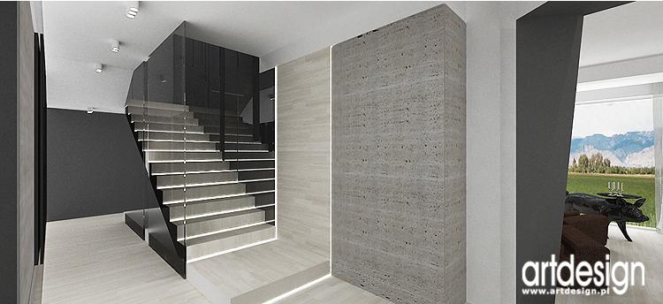 projekt wnętrza domu - hol ze schodami