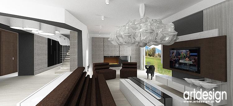 salon z kominkiem - nowoczesna aranżacja wnętrza