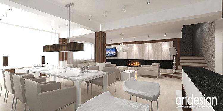 luksusowe wnętrze salonu z jadalnią