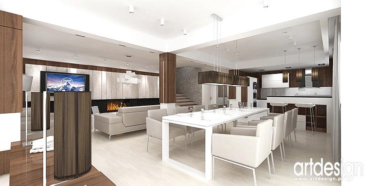 projekt wnętrza domu - salon z jadalnią