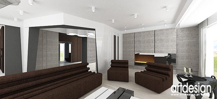 nowoczesny salon z kominkiem - projekt wnętrz