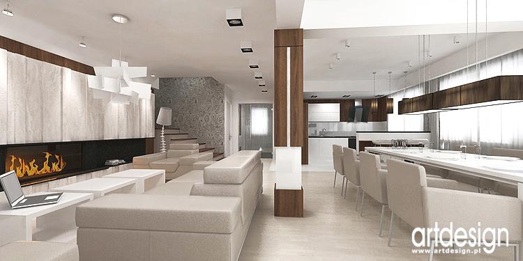 nowoczesne wnętrze salonu z jadalnią