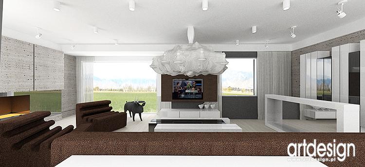 salon - nowoczesny projekt wnętrza