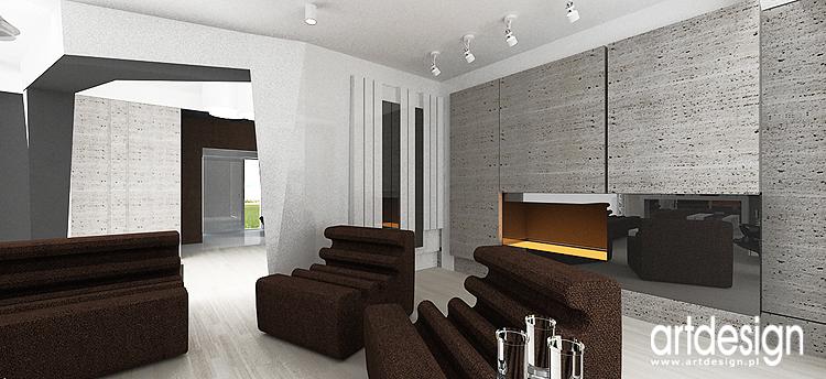 wnętrze salonu z kominkiem