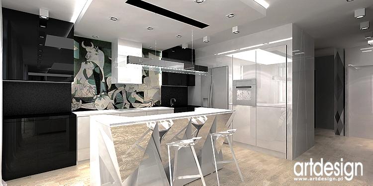 otwarta kuchnia w apartamencie - projekty wnętrz