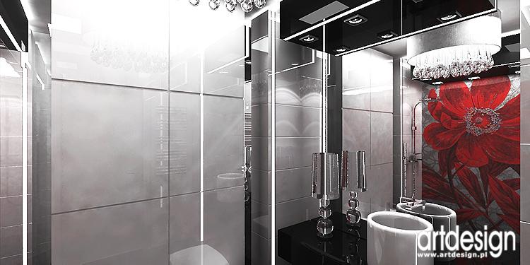 czarno-białe wnętrze łazienki