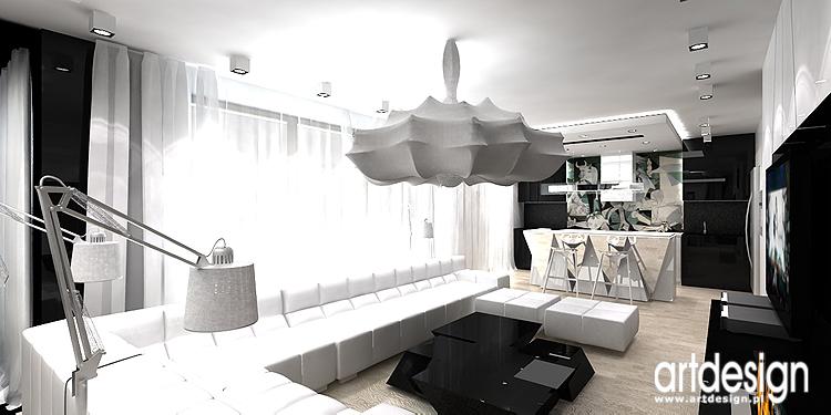 salon w bieli - aranżacje wnętrz apartamentu