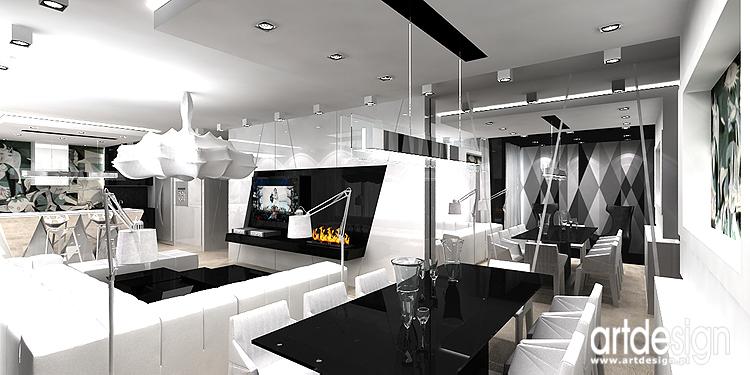 projekt wnętrza salonu z biokominkiem