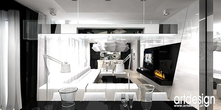 salon z otwartą kuchnią - nowoczesny projekt wnętrz