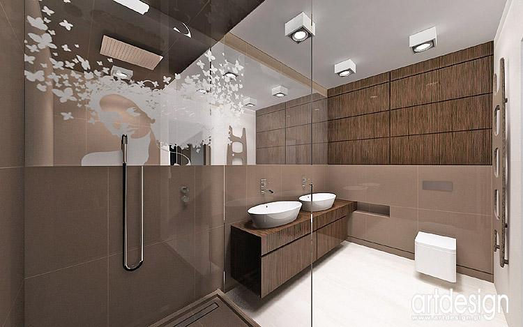 projekty wnętrza nowoczesnego domu - łazienka przy sypialni