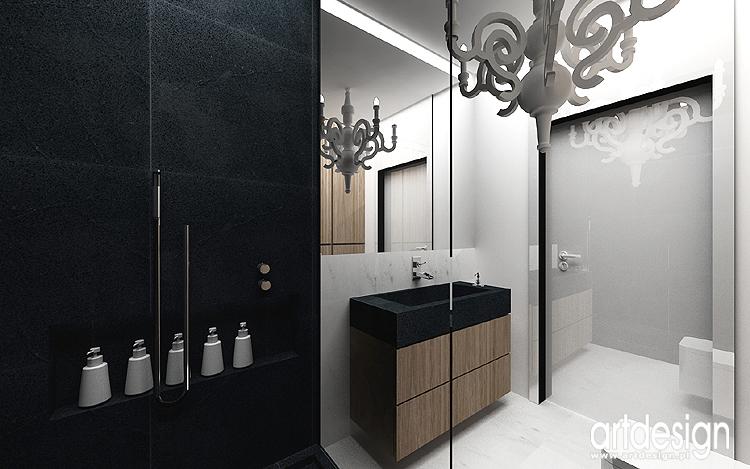 czarno-białe wnętrza łazienek