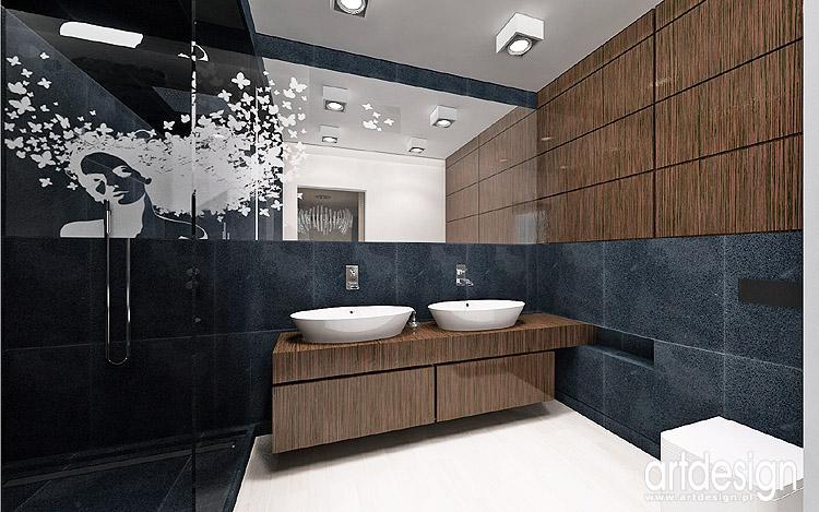 grafitowa łazienka - projektowanie wnętrza
