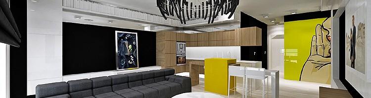 nowoczesne wnętrze salonu z kuchnia
