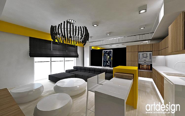 nowoczesne wnętrze apartamentu - salon z kuchnią