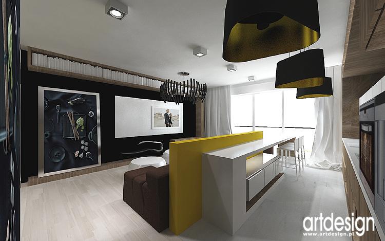 salon z kuchnią - designerskie projekty wnętrz