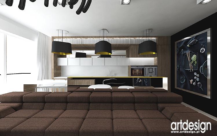 nowoczesny salon z kuchnią - aranżacja wnętrz