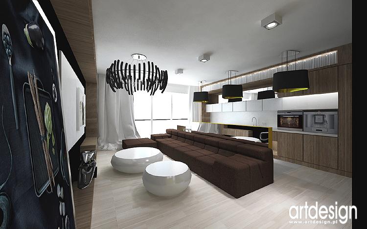 salon z otwartą kuchnią - projektowanie wnętrz