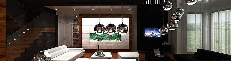 aranżacja wnętrza salonu z akwarium