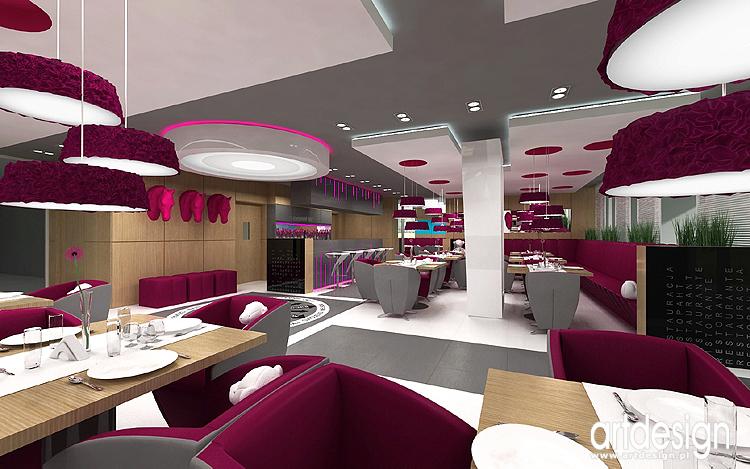 projekt wnętrza nowoczesnego hotelu - restauracja