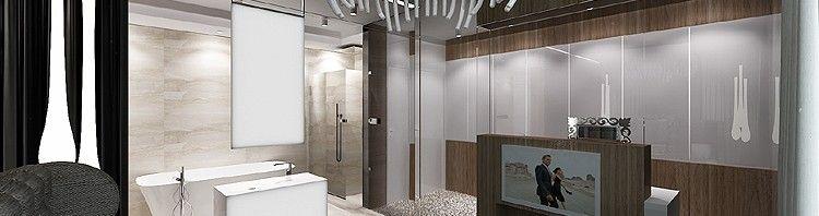 projekty wnętrza nowoczesnego apartamentu - sypialnia z łazienką