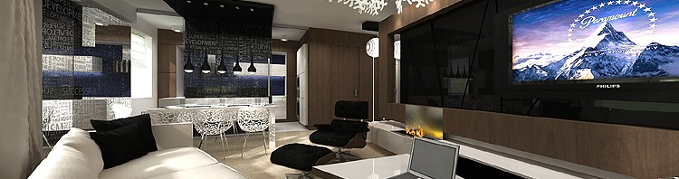 projekt wnętrza nowoczesnego salonu