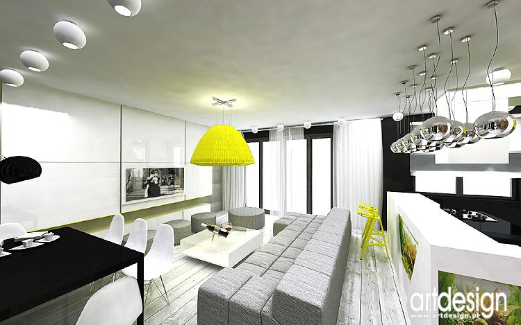 Apartament Katowice Projekt wnętrz – salon, kuchnia, sypialnia i gabinet   -> Kuchnia Poddasze Salon Sypialnia