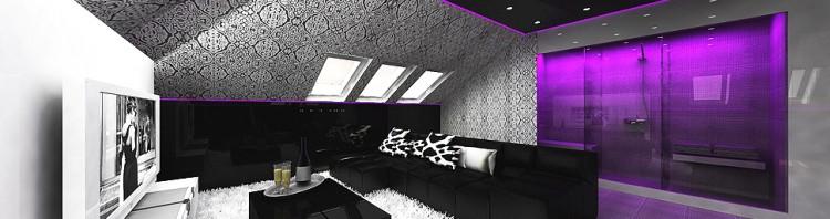nowoczesne wnętrze domu - sauna, kino domowe