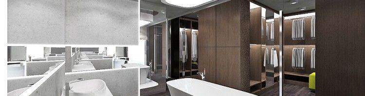 projekt wnętrza nowoczesnego domu - łazienka i garderoba