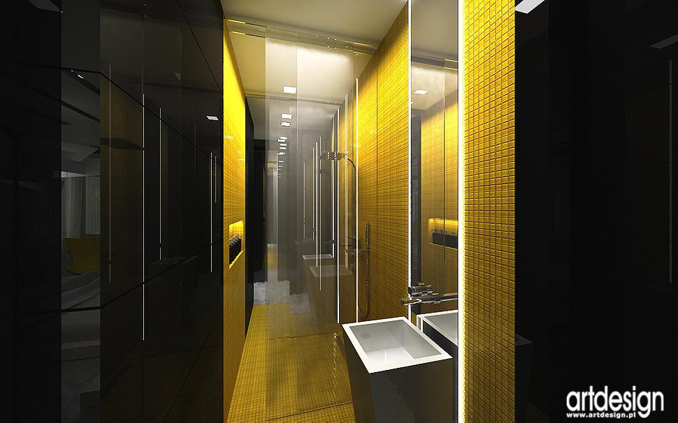 projektowanie wnętrz nowoczesnego domu - żółto-czarna łazienka