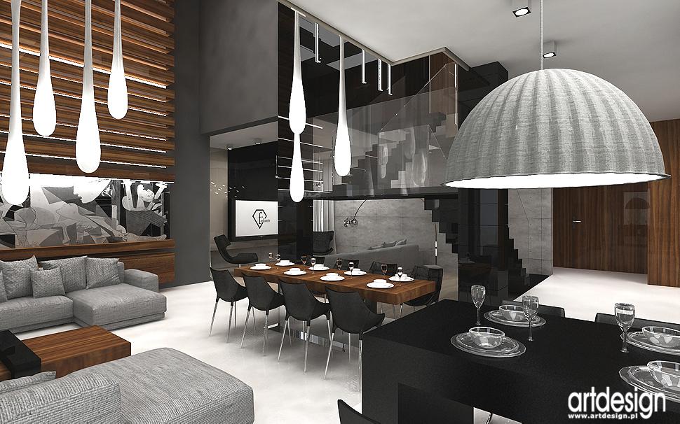 jadalnia i salon - luksusowe wnętrza domów - aranżacje