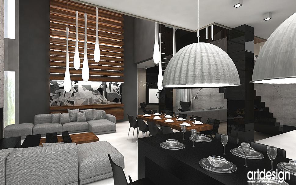 projekty wnętrza salonu z jadalnią