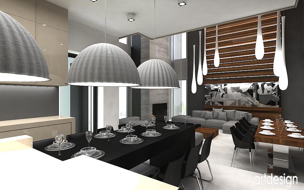 jadalnia, salon, otwarta kuchnia - projekty wnętrz współczesnych domów