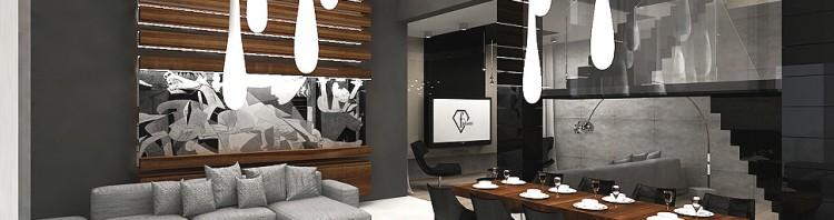 projekt wnętrza luksusowego domu - salon i jadalnia