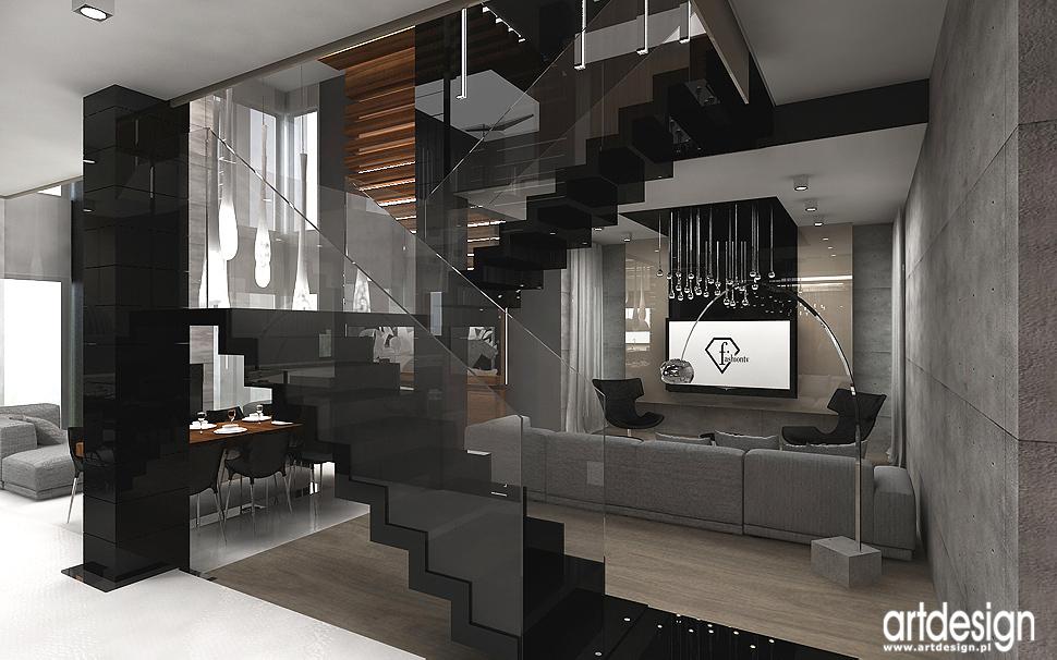 hol i schody w nowoczesnym domu - projekt aranżacji wnętrz
