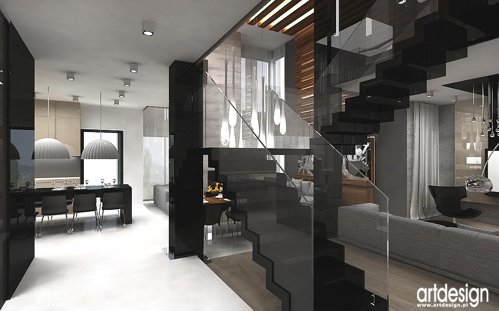 luksusowa aranżacja wnętrza domu - hol i schody