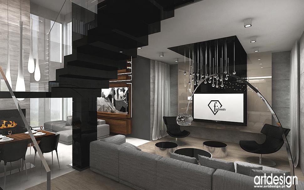 aranżacje wnętrza domów - salon, hol, schody