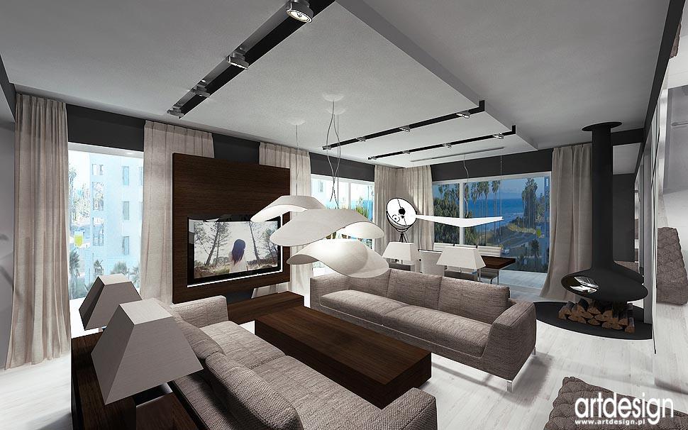 projekt wnętrz luksusowy salon z kominkiem