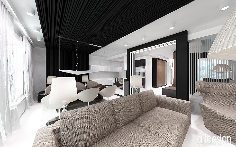 Nowoczesny design wnętrz Aranżacja salon, kuchnia, jadalnia, hol  Projekto   -> Aranżacja Kuchnia Jadalnia Salon