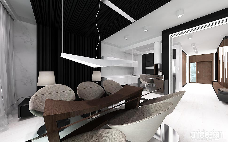 nowoczesny design wnętrz aranżacja salon kuchnia