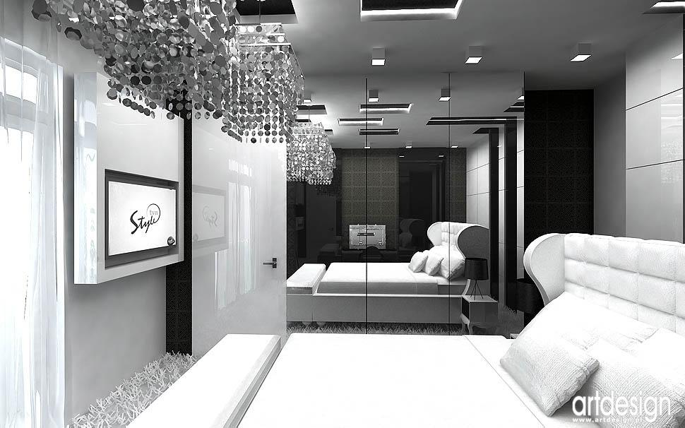 projekt wnetrze sypialni czarny bialy glamour