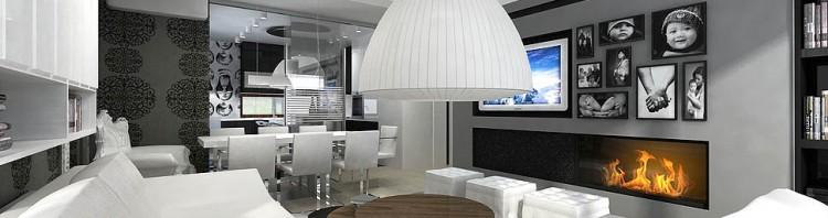 wnętrze apartamentu projekty salon z kominkiem