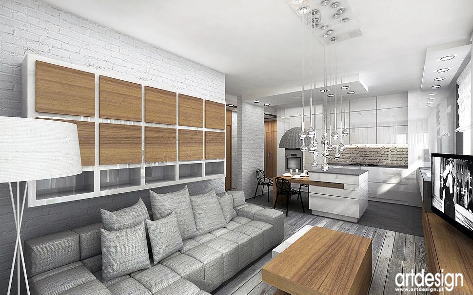 aranzacje wnetrze apartamentu bielona cegła minimaliz