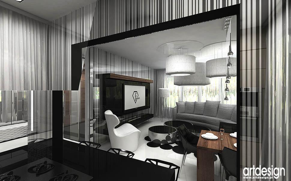 Wnętrza apartamentu – Gdańsk Salon, kuchnia, jadalnia  Projektowanie wnętr