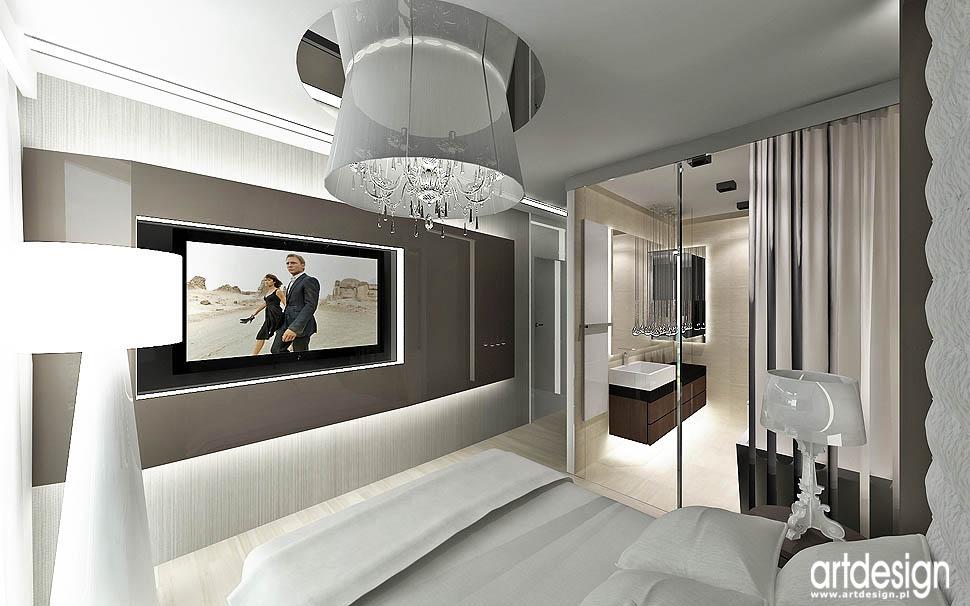 wnetrze nowoczesnej sypialni glamour apartament